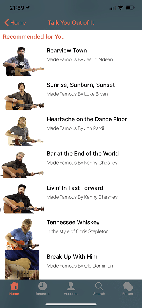 Six String Country App Screen 4