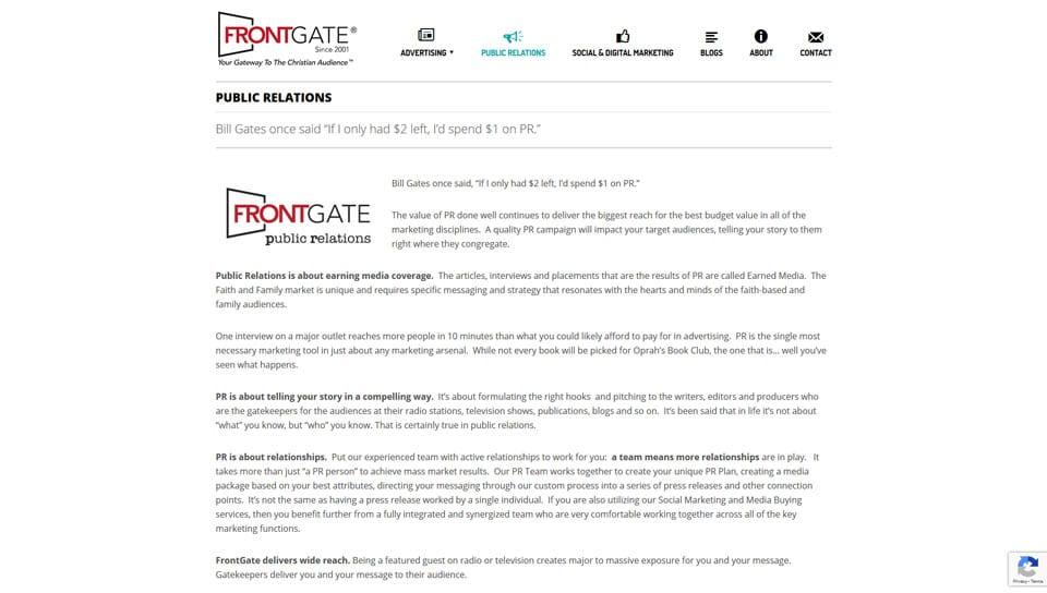 Frontgate Public Relations